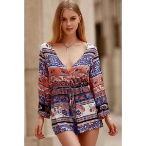 Plunging Neck Long Sleeve Ethnic Print Women's Playsuit -