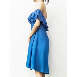 Stylish Off The Shoulder Flounce Denim Dress For Women -