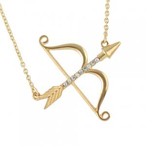 Rhinestone Arrow Bow Shape Necklace -