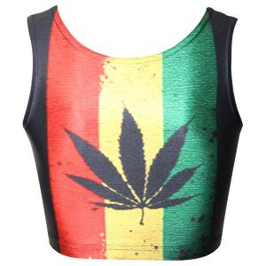 Sexy Hit Color Maple Leaf Printed Bodycon Cropped Tank Top For Women -