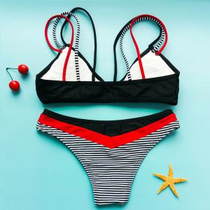 Charming Strappy Striped Bikini Set For Women -