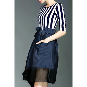 Chic Scoop Neck Long Sleeve Striped Cut Out Women's Dress -