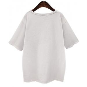Casual Solid Color Scoop Neck Half Sleeve Broken Hole T-Shirt For Women -