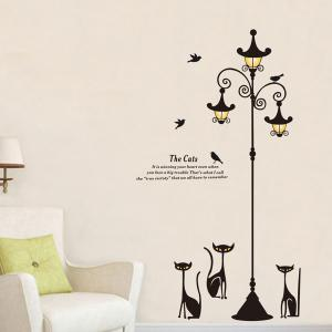 High Quality Cartoon Cat Street Lamp Pattern Removeable Wall Sticker -