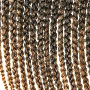 Stylish 14Pcs/Lot Long Synthetic Brown Ombre Handmade Large Braided Hair Extension For Women - COLORMIX