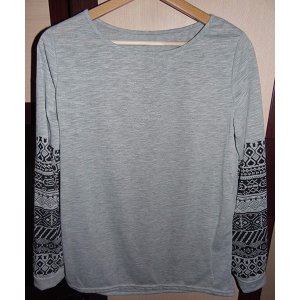 Casual Round Neck Ethnic Print Spliced Long Sleeve T-Shirt For Women - GRAY M