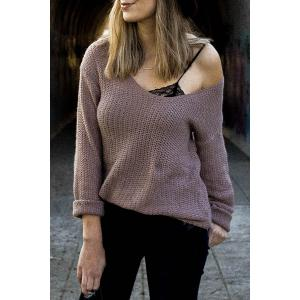 Casual V-Neck Solid Color Long Sleeves Pullover Sweater For Women - Pale Pinkish Grey - Xl