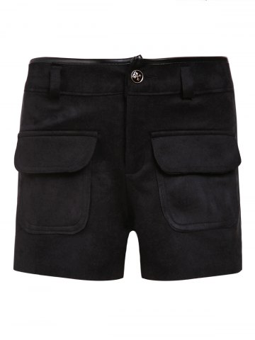 Online Women's Stylish High Waist Black Pocket Design Shorts