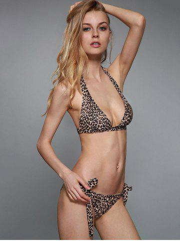 Shops Sexy Halterneck Leopard Print Stretchy Bikini Set For Women
