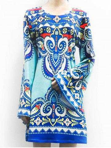 Discount Ethnic Style Scoop Neck Totem Print Long Sleeve Dress For Women