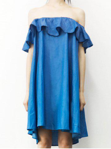 Outfits Stylish Off The Shoulder Flounce Denim Dress For Women