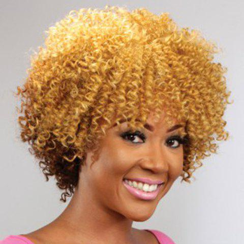 Shop Shaggy Afro Curly Capless Fashion Short Golden Mixed Brown Synthetic Wig For Women
