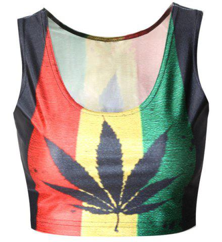 Latest Sexy Hit Color Maple Leaf Printed Bodycon Cropped Tank Top For Women