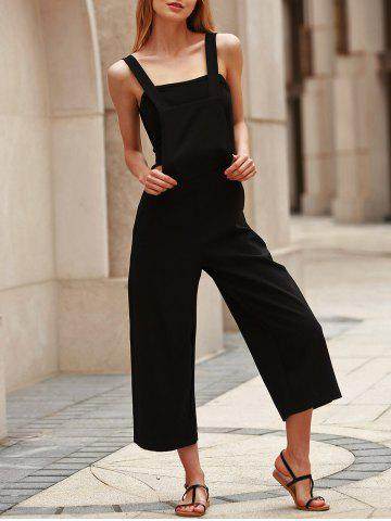 Chic Stylish Loose-Fitting Black Cropped Overalls For Women