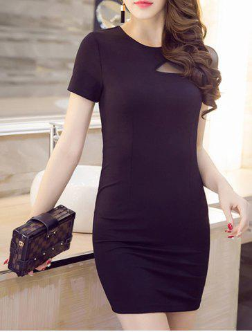 Unique Women's Stylish Short Sleeve Jewel Neck Voile Splicing Dress