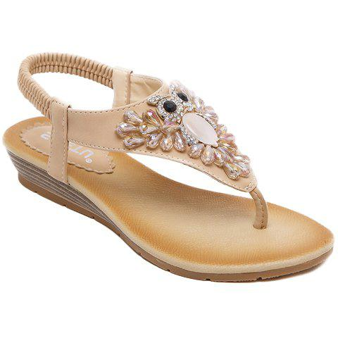 Shop Casual Rhinestones and Flip Flops Design Sandals For Women APRICOT 36