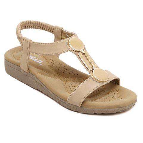 Online Casual Elastic Band and PU Leather Design Sandals For Women