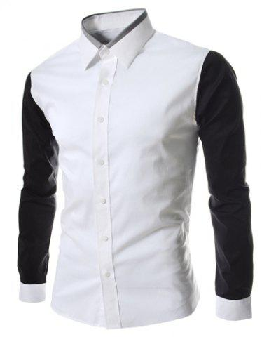 Discount Turn-Down Collar Color Block Splicing Long Sleeve Shirt For Men