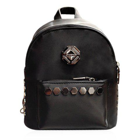 New Trendy Solid Colour and Metal Design Backpack For Women