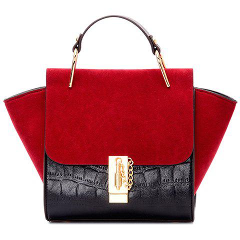 Hot Fashionable Splicing and Color Block Design Tote Bag For Women - RED WITH BLACK  Mobile