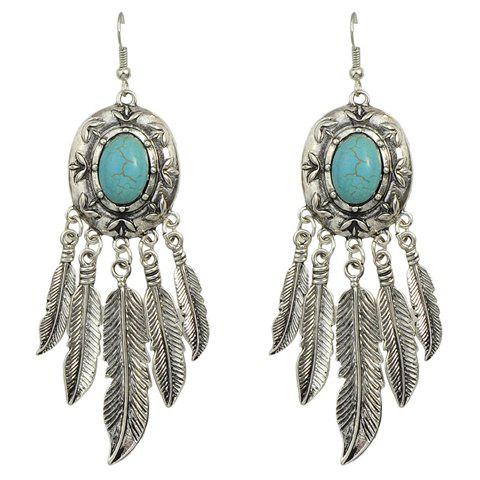 Shop Pair of Faux Turquoise Tassel Feather Earrings
