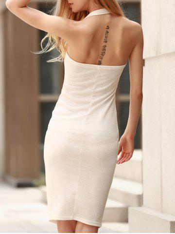 Sale Graceful Solid Color Halter Backless Bodycon Dress For Women