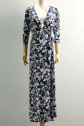 Latest Vintage Plunge Neck Floral Printed 3/4 Sleeve Maxi Dress For Women