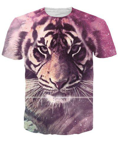 Unique Round Neck 3D Tiger Print Short Sleeves T-Shirt For Men - 2XL COLORMIX Mobile