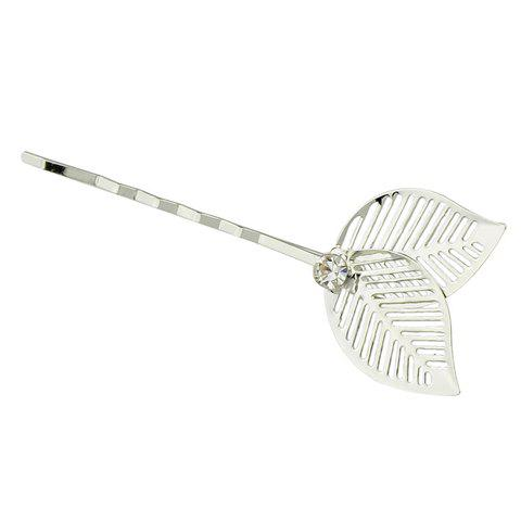 Affordable Stylish Hollow Out Leaf Hairpin For Women - SILVER  Mobile