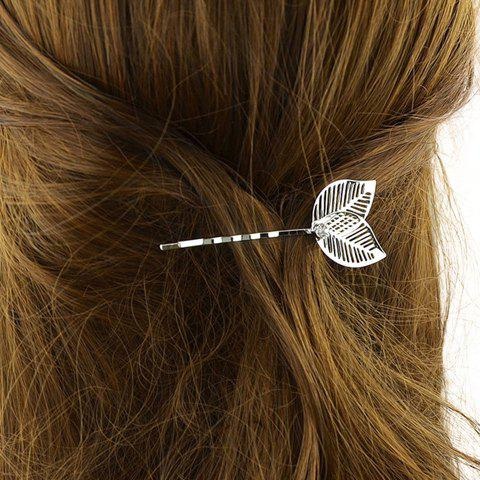 Sale Stylish Hollow Out Leaf Hairpin For Women - SILVER  Mobile