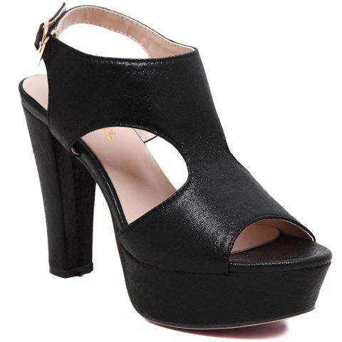 Outfits Sweet Chunky Heel and Buckle Strap Design Sandals For Women