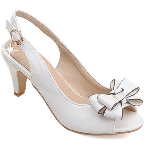 Discount Stylish Patent Leather and Bowknot Design Sandals For Women - WHITE 39 Mobile
