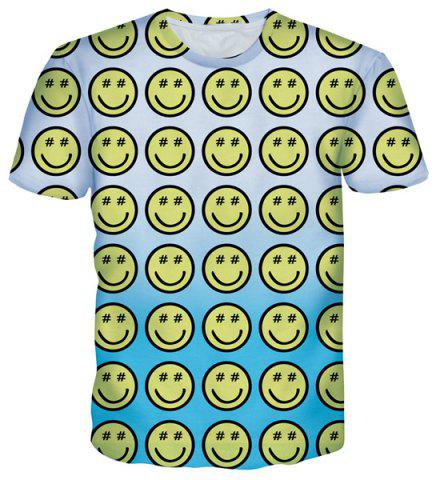 New Cartoon Smile Emoticon Print Round Neck Short Sleeves T-Shirt For Men