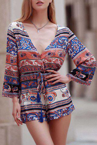 Online Plunging Neck Long Sleeve Ethnic Print Women's Playsuit