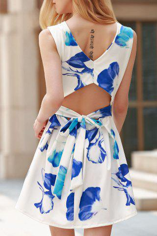 Unique Stylish Round Collar Cut Out Flower Print Dress For Women