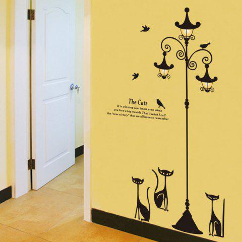 Fashion High Quality Cartoon Cat Street Lamp Pattern Removeable Wall Sticker BLACK