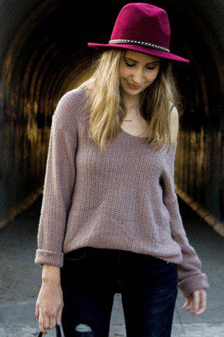 Discount Casual V-Neck Solid Color Long Sleeves Pullover Sweater For Women - XL PALE PINKISH GREY Mobile