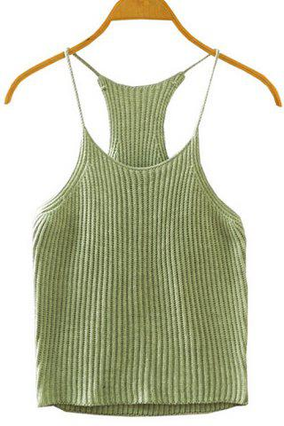 Fashion Spaghetti Straps Crocheted Tank Top ARMY GREEN ONE SIZE(FIT SIZE XS TO M)