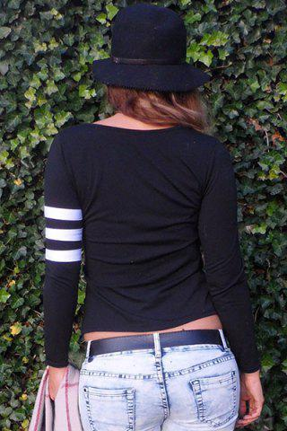 Store Charming Scoop Neck Color Block Striped Sleeve T-Shirt For Women - S BLACK Mobile