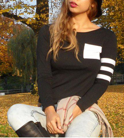 Sale Charming Scoop Neck Color Block Striped Sleeve T-Shirt For Women - S BLACK Mobile