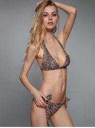 Sexy Halterneck Leopard Print Stretchy Bikini Set For Women -