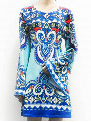 Ethnic Style Scoop Neck Totem Print Long Sleeve Dress For Women -