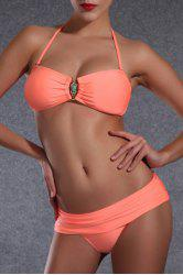 Trendy Halter Rhinestone Design Push Up Solid Color Bikini For Women