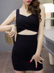 Women's Stylish Sweetheart Neck Candy Color Hollow Out Dress -