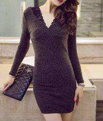 Women's Stylish V-Neck Long Sleeve Lace Sweater Dress -
