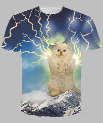 Cool Lightning Cat Print Round Neck Short Sleeves 3D T-Shirt For Men - COLORMIX