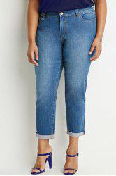 Vintage Buttoned Plus Size Capri Jeans For Women