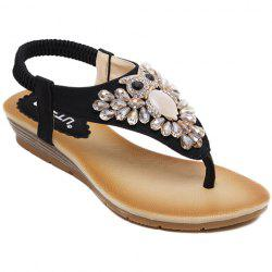 Casual Rhinestones and Flip Flops Design Sandals For Women - BLACK