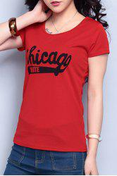 Brief Scoop Neck Short Sleeve Red Letter Pattern T-Shirt For Women