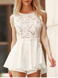 Lace Design Flounced Open Back Romper -